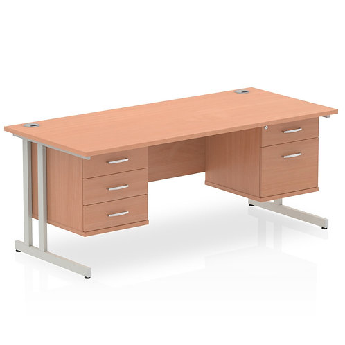 Impulse 1600 Rectangle Silver Leg Desk Beech 1 x 2 Drawer 1 x 3 Drawer Fixed Ped