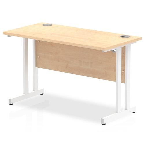 Impulse 1200/600 Rectangle White Cantilever Leg Desk Maple