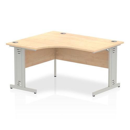 Impulse 1400 Left Hand Silver Crescent Cable Managed Leg Desk Maple