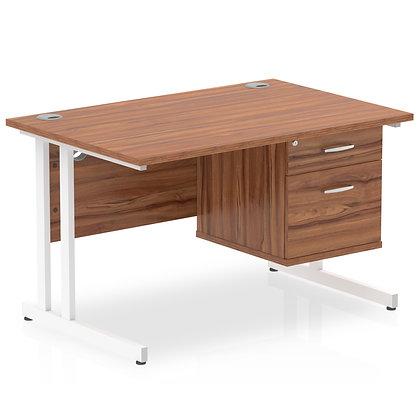 Impulse 1200 Rectangle White Cant Leg Desk Walnut 1 x 2 Drawer Fixed Ped