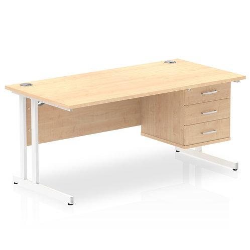 Impulse 1600 Rectangle White Cant Leg Desk Maple 1 x 3 Drawer Fixed Ped