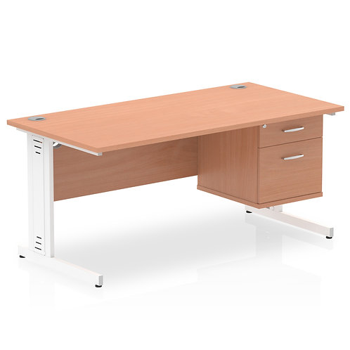 Impulse 1600 Rectangle White Cable Managed Leg Desk Beech 1 x 2 Drawer Fixed Ped