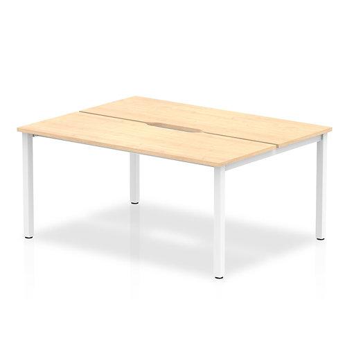 B2B White Frame Bench Desk 1200 Maple (2 Pod)