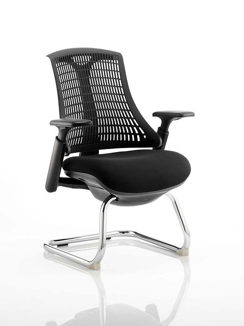 Flex Visitor Cantilever Chair Black Fabric Seat With Black Back