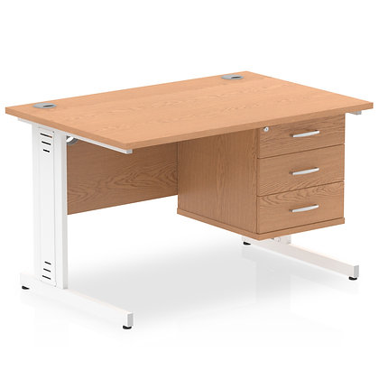 Impulse 1200 Rectangle White Cable Managed Leg Desk Oak 1 x 3 Drawer Fixed Ped