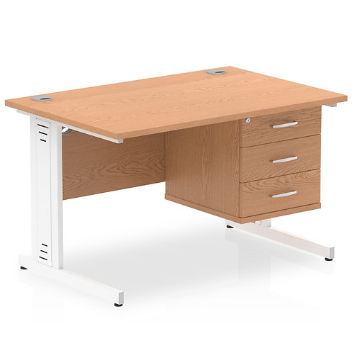 Impulse 1200 Rectangle White Cable Managed Leg Desk Oak 1 x 3 Drawer Fixed Ped
