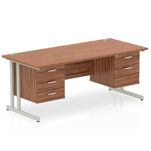 Impulse 1600 Rectangle Desk Walnut 1 x 2 Drawer 1 x 3 Drawer Fixed Ped