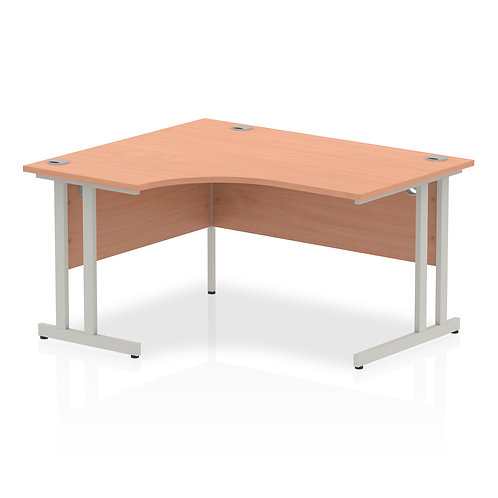 Impulse 1400 Left Hand Silver Crescent Cantilever Leg Desk Beech
