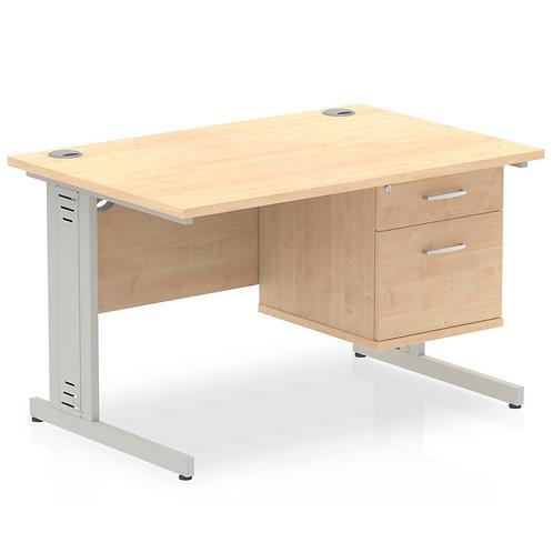 Impulse 1200 Rectangle Desk Maple 1 x 2 Drawer Fixed Ped
