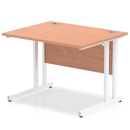 Impulse 1000/800 Rectangle White Cantilever Leg Desk Beech