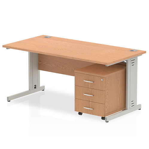 Impulse 1600 x 800mm Straight Desk Oak Top Pedestal Bundle