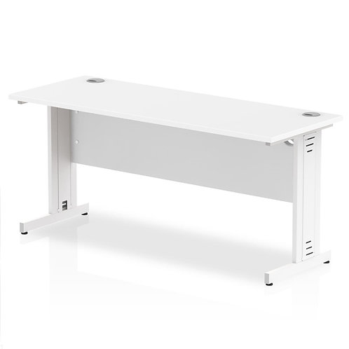 Impulse 1600/600 Rectangle White Cable Managed Leg Desk White
