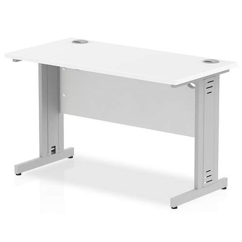 Impulse 1200/600 Rectangle Silver Cable Managed Leg Desk White