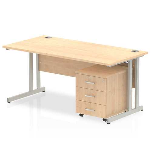 Impulse 1600 x 800mm Straight Desk Maple Top Pedestal Bundle