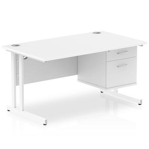 Impulse 1400 Rectangle White Cant Leg Desk White 1 x 2 Drawer Fixed Ped