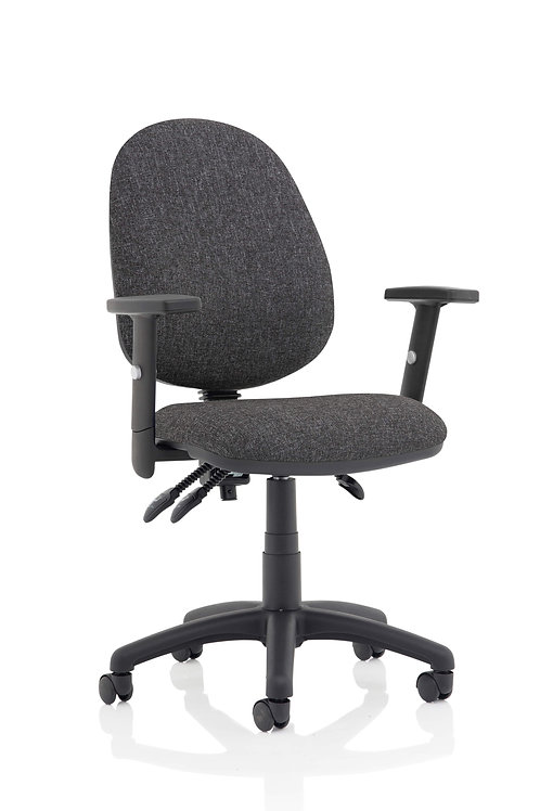Eclipse Plus III Lever Task Operator Chair Charcoal With Height Adjustable Arms