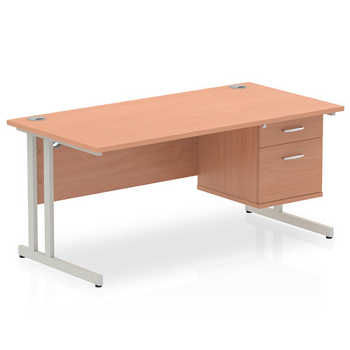 Impulse 1600 Rectangle Silver Cant Leg Desk Beech 1 x 2 Drawer Fixed Ped