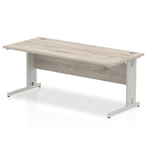 Impulse 1800/800 Rectangle Silver Cable Managed Leg Desk Grey Oak