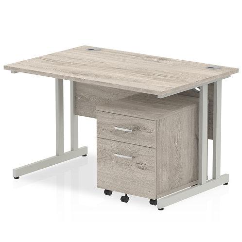 Impulse 1200 Straight Desk Grey Oak Cantilever Leg Mobile Pedestal Bundle