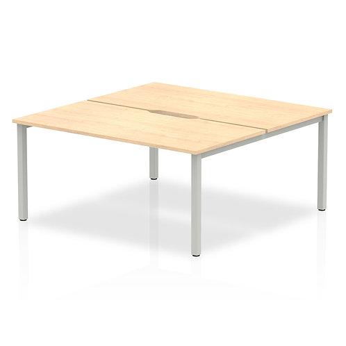 B2B Silver Frame Bench Desk 1600 Maple (2 Pod)