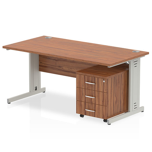 Impulse 1400 x 800mm Straight Desk Walnut Top Pedestal Bundle