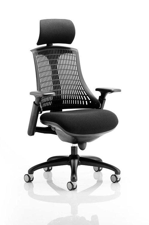 Flex Task Operator Chair Black Frame With Black Fabric Seat Black Back