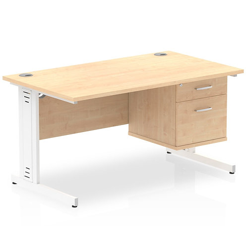 Impulse 1400 Rectangle White Cable Managed Leg Desk Maple 1 x 2 Drawer Fixed Ped
