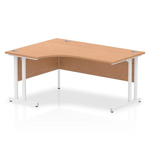 Impulse 1600 Left Hand White Crescent Cantilever Leg Desk Oak