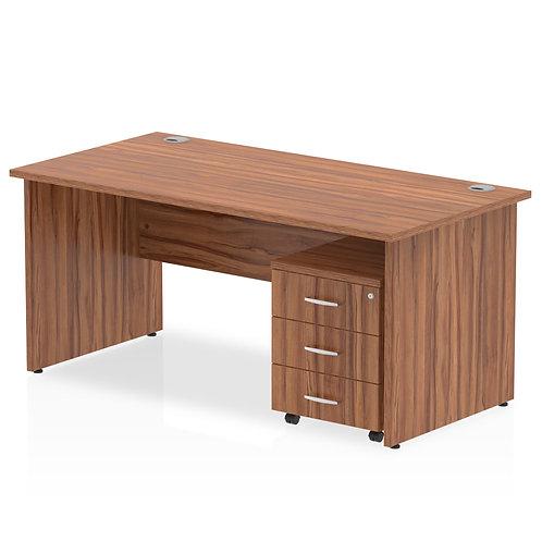 Impulse 1400 x 800mm Straight Desk Walnut Top Panel End Leg Pedestal Bundle