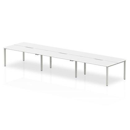 B2B Silver Frame Bench Desk 1400 White (6 Pod)
