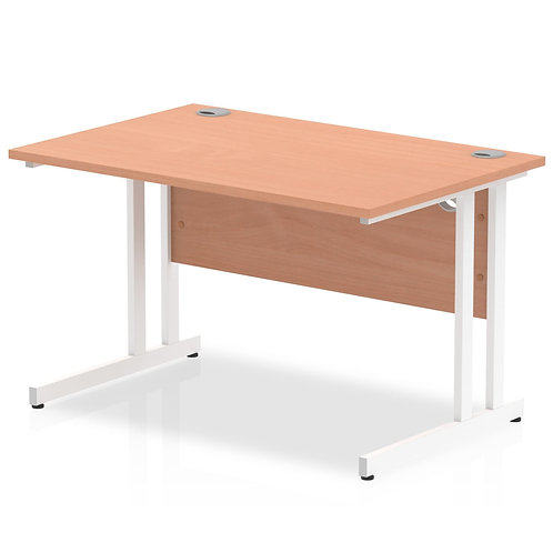 Impulse 1200/800 Rectangle White Cantilever Leg Desk Beech