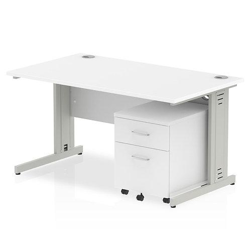 Impulse 1400 x 800mm Straight Desk White Top Pedestal Bundle
