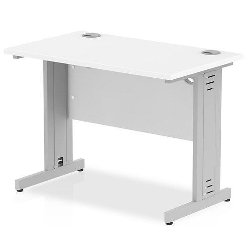 Impulse 1000/600 Rectangle White Cable Managed Leg Desk White