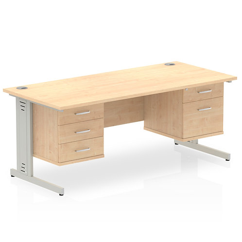 Impulse 1600 Rectangle Desk Maple 1 x 2 Drawer 1 x 3 Drawer Fixed Ped