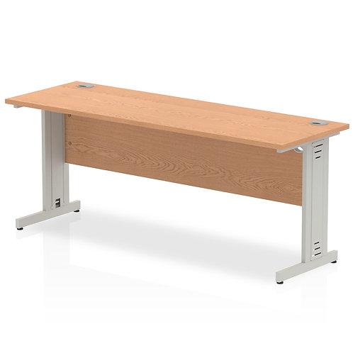 Impulse 1800/600 Rectangle Silver Cable Managed Leg Desk Oak