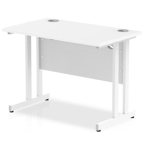 Impulse 1000/600 Rectangle White Cantilever Leg Desk White
