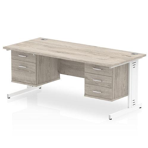 Impulse 1800 Rectangle Desk Grey Oak 1 x 2 Drawer 1 x 3 Drawer Fixed Ped