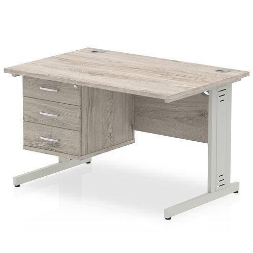 Impulse 1200 Rectangle Desk Grey Oak 1 x 3 Drawer Fixed Ped