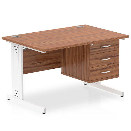 Impulse 1200 Rectangle Desk Walnut 1 x 3 Drawer Fixed Ped
