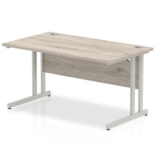 Impulse 1400/800 Rectangle Silver Cantilever Leg Desk Grey Oak