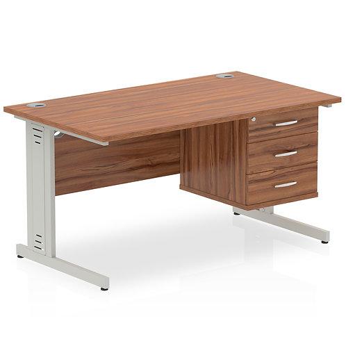 Impulse 1400 Rectangle Desk Walnut 1 x 3 Drawer Fixed Ped