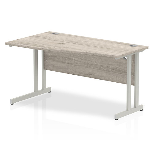 Impulse 1400 Left Hand Silver Cantilever Leg Wave Desk Grey Oak