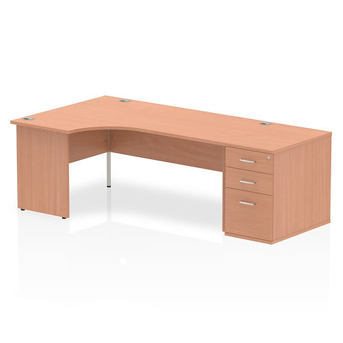 Impulse 1600mm Left Hand Crescent Desk Panel End Leg Package Deal