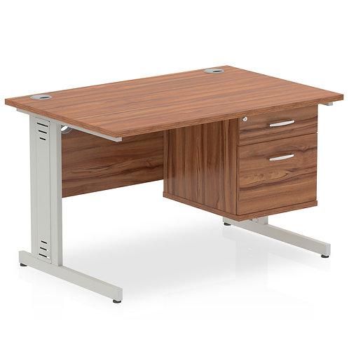 Impulse 1200 Rectangle Desk Walnut 1 x 2 Drawer Fixed Ped