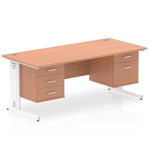 Impulse 1600 Rectangle Desk Beech 1 x 2 Drawer 1 x 3 Drawer Fixed Ped