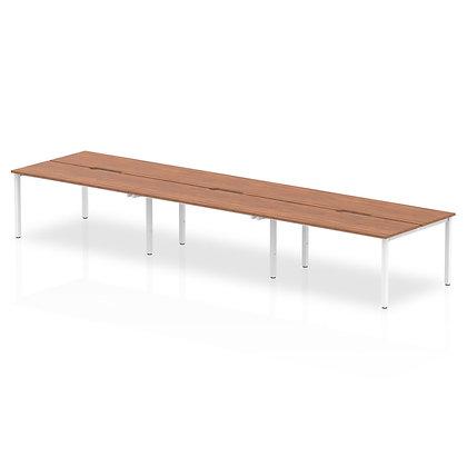 B2B White Frame Bench Desk 1400 Walnut (6 Pod)