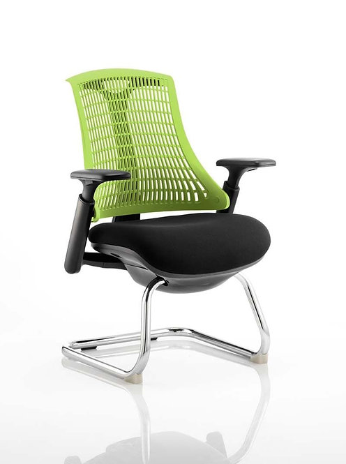 Flex Visitor Cantilever Chair Black Fabric Seat With Green