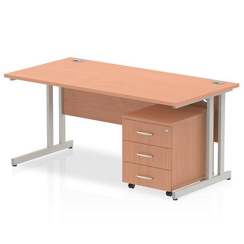 Impulse 1600 x 800mm Straight Desk Beech Top Pedestal Bundle