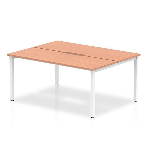 B2B White Frame Bench Desk 1400 Beech (2 Pod)