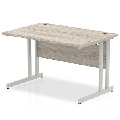 Impulse 1200/800 Rectangle Silver Cantilever Leg Desk Grey Oak